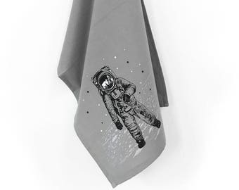Astronaut Towel, Kitchen Towels, Tea Towels, Dish towel, Space gift for him her, Housewarming gift, Host Gift, Towels, hand printed towels