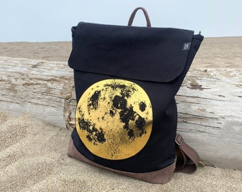 Gold Moon Black Backpack by Little Lark, Canvas Backpack, Moon Bag, Vegan Backpack, Black Rucksack, School Bag