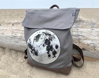 Silver Moon Grey Backpack by Little Lark, Canvas Backpack, Moon Bag, Vegan Backpack, Grey Rucksack, School Bag
