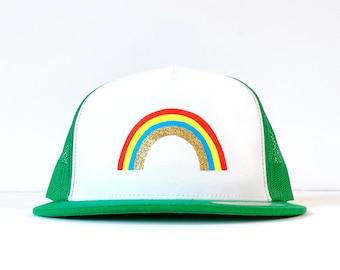 Rainbow Hat, Hand Painted Rainbow Trucker Hat, Glitter Rainbow Hat, LGBTQ Rainbow Gifts, Glitter Rainbow Gift, Adjustable Unisex Trucker Hat