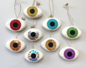 Evil eye charm, good luck charm, woke gold eye, Christmas tree ornament, red eyes, witch eyes, felted wool charms.