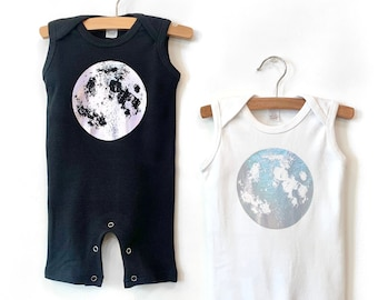 Moon Child Baby Romper, Moon One Piece with Silver Hologram Foil, Moon Baby Clothes, silver moon gift, rainbow baby shower gift