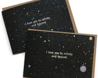 I Love you to Infinity and Beyond - Love Card - Love Cards, Valentine Card, Anniversary Card, I Love you Card, space card, Girlfriend card