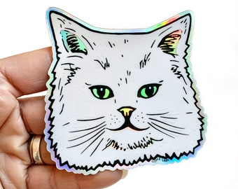Fancy Cat Sticker, White Persian Cat Face, Kitty Sticker, Hologram Stickers, 3 inch cat sticker, cat party favors, sticker collector