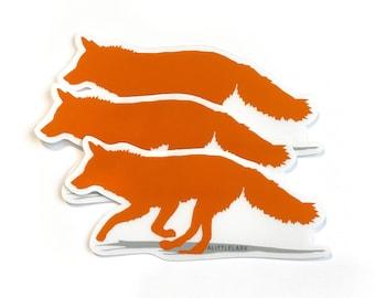 Orange Fox Sticker, Running Fox Wolf Sticker, Clear Waterproof Sticker, Woodland Animals, birthday party favors, sticker collector