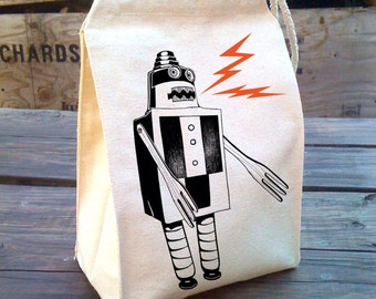 Back To School Personalised Robot Lunch Bag Kids Robot Cooler Bag Robot School Lunch Bag Boys School Lunch Bag Children Student