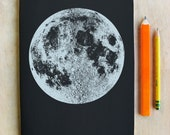 Moon SketchBook, Silver Moon Journal, Blank Moon Notebook, Space Gift, Artist sketchbook, Silver Moon Print, Love you to the moon