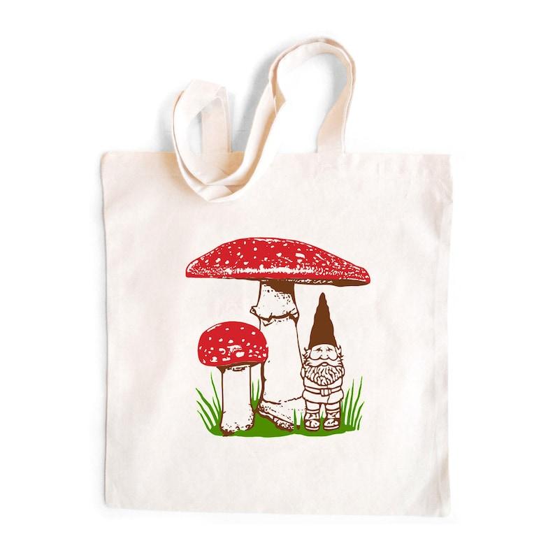 2588834ef4e7 Gnome Tote Bag Gnome Mushroom tote Gnomes tote bag cotton   Etsy