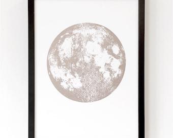 Metallic Moon Print, Full Moon Art Print, Wall Decor, Nursery decor, gold copper silver home decor, Astrology Space Print, fits IKEA frame