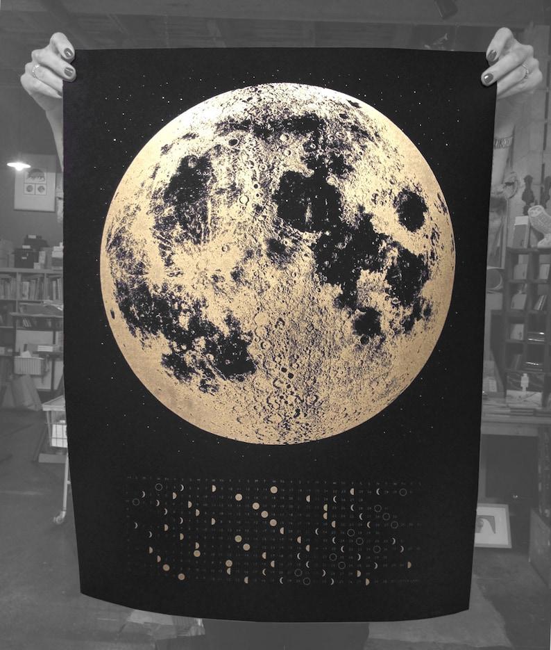 2019 Full Moon Calendar Lunar Phases Wall Moon Art Gold Moon Etsy