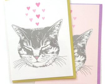 Cat card, blank cat cards, Happy Cat Greeting Cards, Valentine Card, cute original kitty love heart design, recycled paper, Portland Oregon