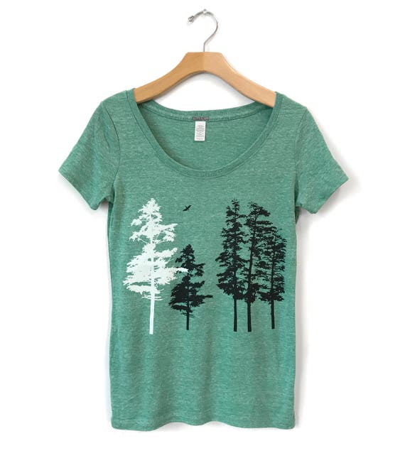 Pine Tree Shirt Outdoor Tshirt Tree Graphic Tee Two Pines Nature Shirt Tree Shirt