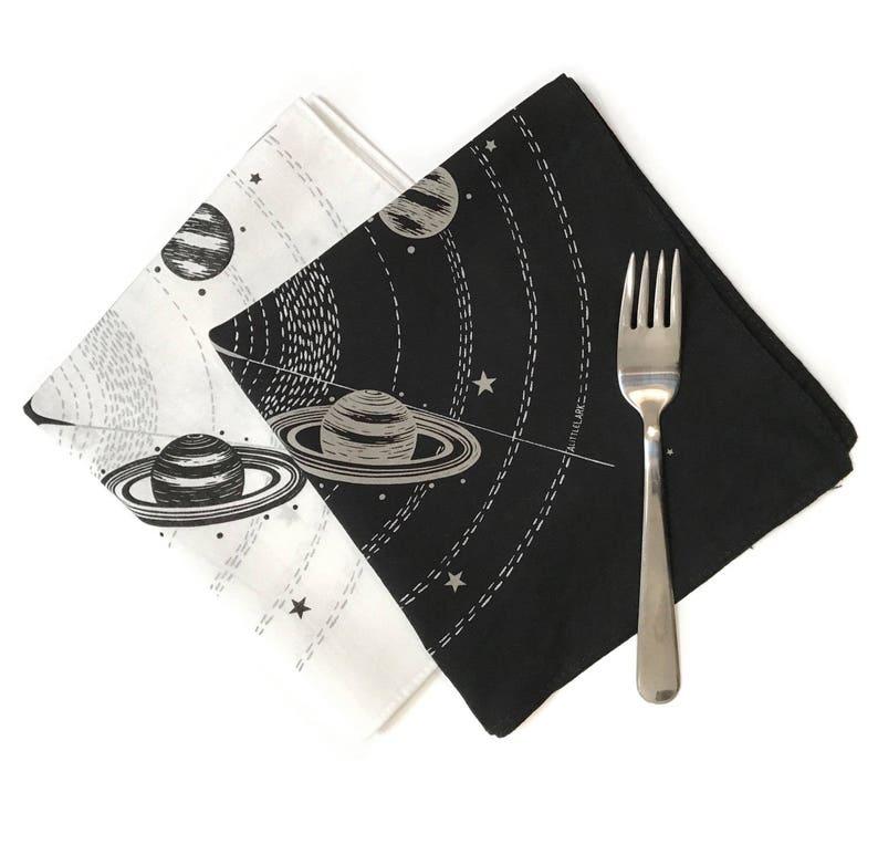 Solar Eclipse Party napkins Sun Handkerchief Hankie Hankies Handkerchiefs Black White party favors Space theme napkins Cocktail napkins