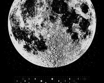 Moon Phases Print, 2018 Moon Phase Calendar, Moon Art Print, Wall Calendar, Silver Moon Print, Lunar Calendar, Space Art Print, Wall Decor