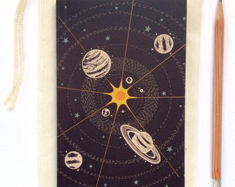 Solar System Space Journal, blank sketch book, recycled paper, small pocket size, luna stellar design with stars, sun and science planets