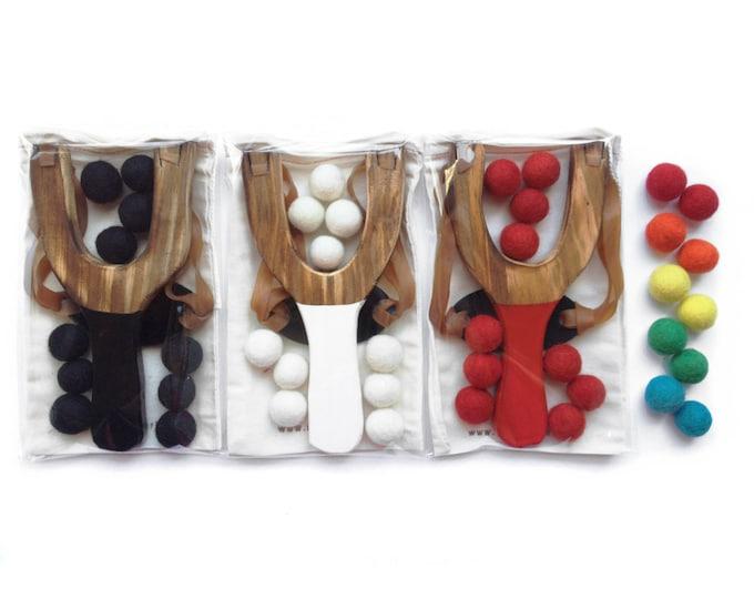 Wood Slingshot, Toy Slingshot, Wooden Slingshot with wool felt balls ammo, rainbow colors unisex boy girl toys, great kids birthday gift