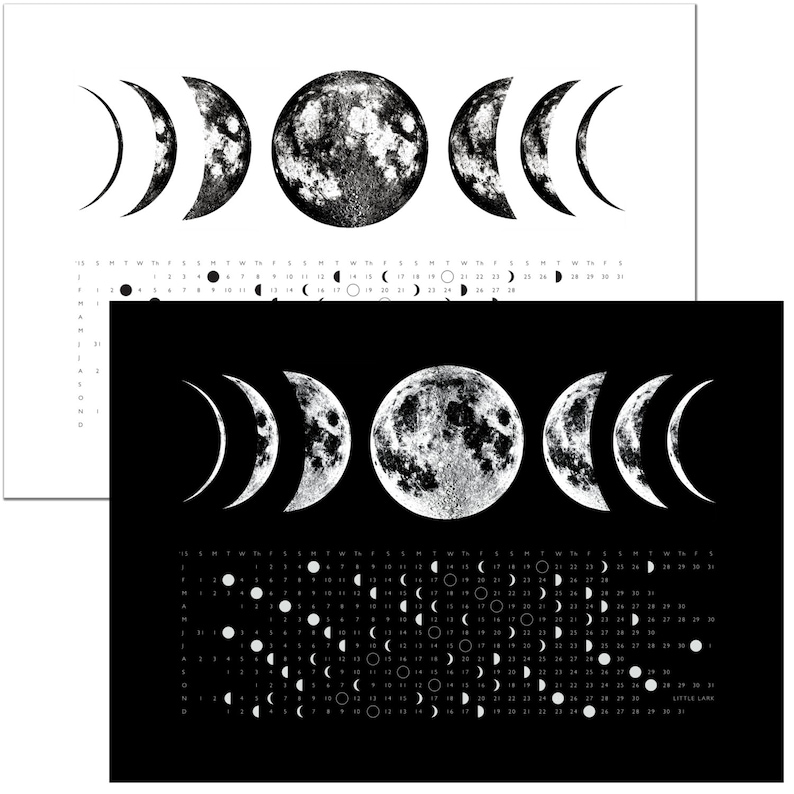 SALE Phases of the Moon, 2018 Full Moon Calendar Phase Kitchen hand Towel,  moon art screen print, space stars lunar science print