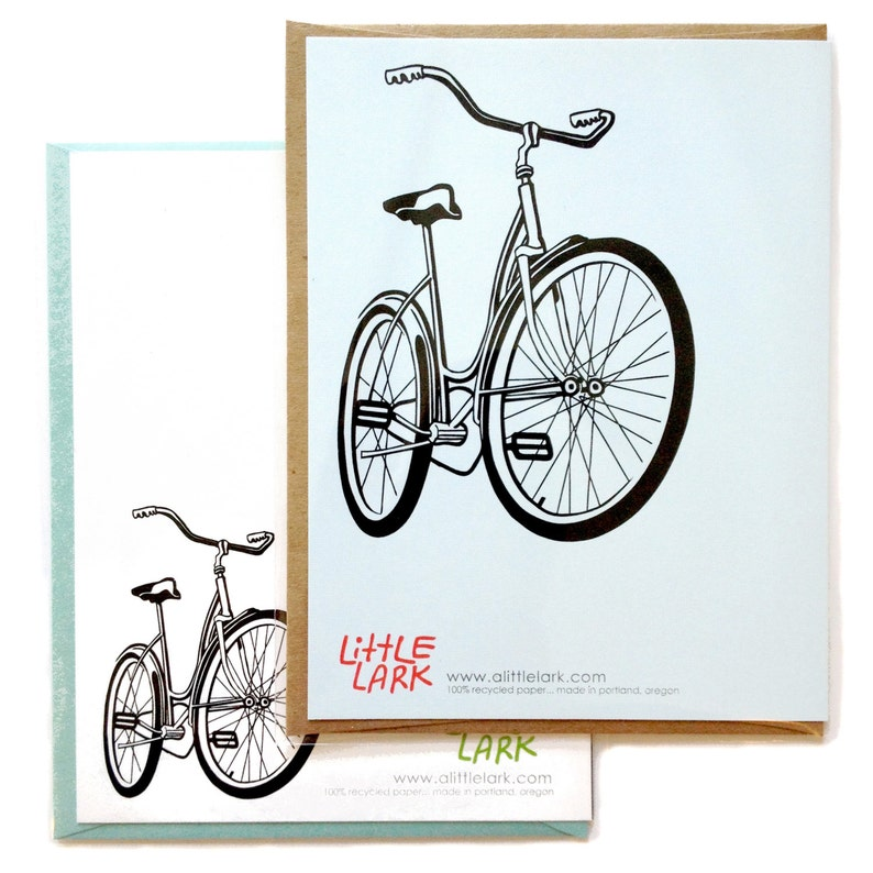 Box of 6 A2 size Bike Greeting Cards blank inside made in Portland Oreogn recycled paper rad old school Ride Schwinn Bicylce design