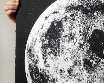 Silver Anniversary gift, 25th year 2017 2018 Moon Phase Calendar, lunar phases print, platinum gift, art print, space luna lunar wall poster