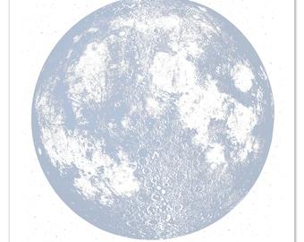 Blue Moon Print,  Silver Moon Art Print, Lunar Print large square moon screen print, metallic ink cotton paper, luna wall art space stars