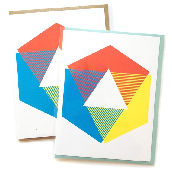 Box of 6 A2 size Color Wheel Greeting Cards, blank inside, rad original  graphic art design, recycled paper, made in Portland Oreogn