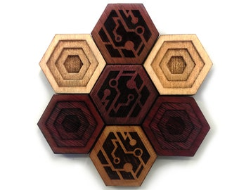 CYBERPUNK: Fidget Toy - Nerdy Gifts- Hardwood Magnet Set- Cyberpunk 2077 Inspired - Vaporwave Decor