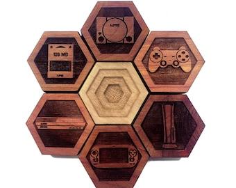 GAMER SET 02: Hardwood Magnet Set- Hexagons - Gamer Decor - Nerdy Gifts