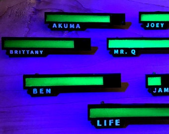 Personalized Glowing Life Bar Pin  - Cyberpunk Gifts - Glow in the Dark Pin - Great for Gamertags - Fursona Pins - Nerdy Pins