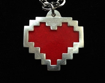 Pixel Heart Necklace  - Sterling Silver Cosplay Jewelry - Pixel Art - Gamer Jewelry -  Video Game Jewelry