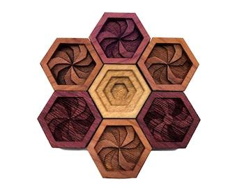 SHARP SWIRLS: Hardwood Magnet Set- Nerdy Gifts - Hexagons - Geometric Decor