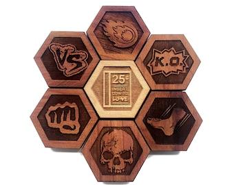 GAMER SET 03: Hardwood Magnet Set- Hexagons - Gamer Decor - Nerdy Gifts