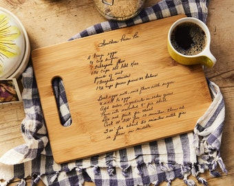 Recipe scanned from Mom's or Grandma's handwriting - Custom Bamboo Cutting Board with Laser Engraved Recipe - Personalized  13 X 9.5
