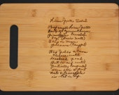 Recipe scanned from Mom or grandmas handwriting laser engraved on a Bamboo Cutting Board  - Personalized  13 x 9.5,  Great Mother's Day gift