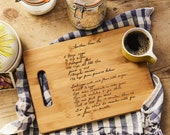 Recipe scanned from Mom's or Grandma's handwriting - Bamboo Cutting Board with Laser Engraved Recipe - Personalized  11 X 8.5
