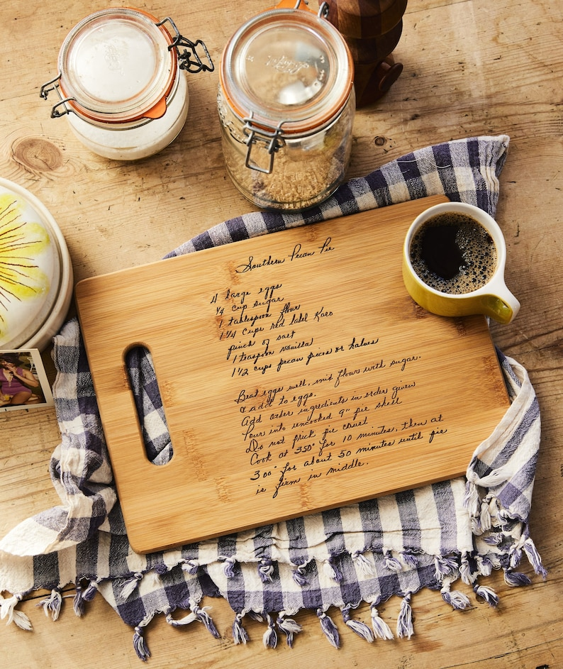 Custom Bamboo Cutting Board with Recipe scanned from Mom's image 0