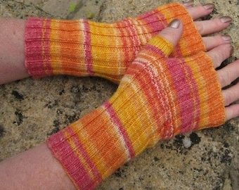 Womens Fingerless Mittens -  Fingerless Gloves -  Hand  Warmers - Hand knit in Sunshine colours.