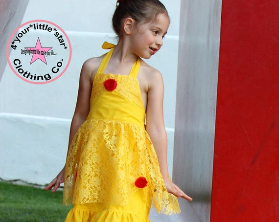 Disney Inspired Princess Belle Halter Dress for Infants, Toddlers, Girls Sizes 12 mos to Size 8