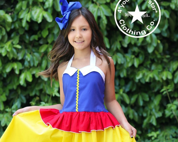 London Dress ~ Disney Inspired Snow White Princess Halter for  babies, toddlers and Girls -0-3 mos to girls 10