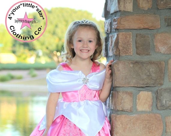 Gorgeous Inspired Aurora Sleeping Beauty Long Dress gown for Infants, Toddlers, Girls Sizes 12 mos to Tweens 15/16 - Pageant, OTT, Halloween
