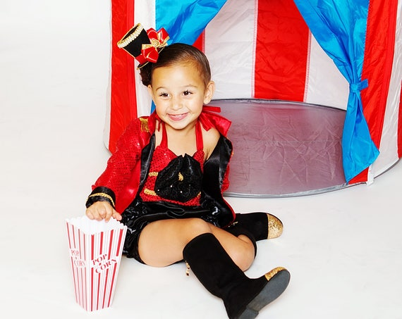 Circus Fun Satin Sequin OTT Ring Master Jacket with tails, ruffled bottom ringmaster romper, mini tophat headband Babies 0-3 mos up to 4t