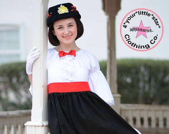 Inspired Mary Poppins Character Day Dress for Infants, Toddlers, Girls Sizes 12 mos to Size 16