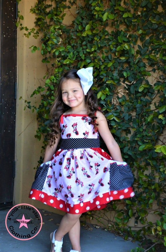 Inspired Miss Mouse pocket spring/summer dress toddlers to girls tweens  sizes 2t up to 14/16 birthday dress, vacation dress