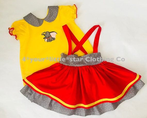 Disney Inspired Appliqued Dumbo outfit includes Peter Pan Collar blouse with Suspender skirt toddlers, girls  6/12 m up to girls 10/12