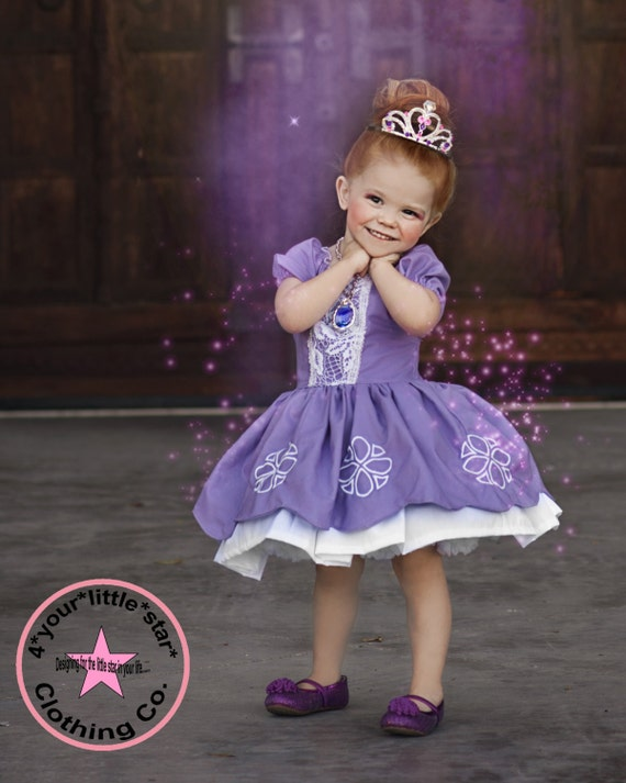 Inspired Sophia the First Princess Character Dress for Infants, Toddlers, Girls Sizes 12 mos to Size 10