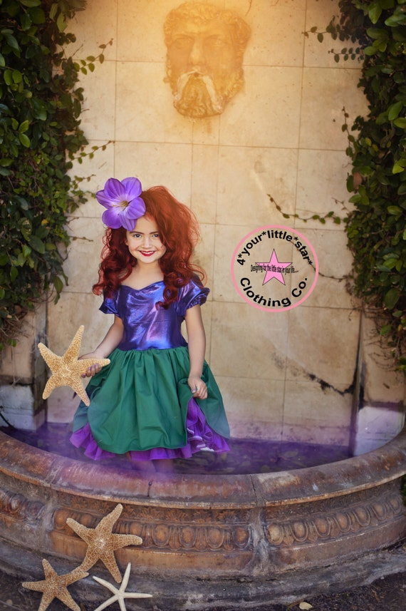 Inspired Ariel Little Mermaid Character Dress for Infants, Toddlers, Girls Sizes 12 mos to Size 10