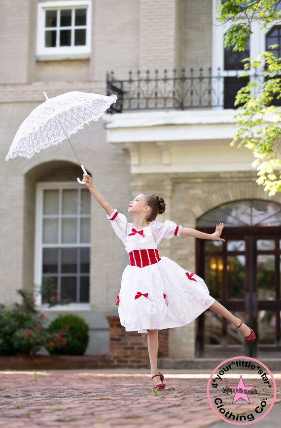 Gorgeous Inspired Mary Poppins Lace Dress Infants, Toddlers, Girls Sizes 12 mos to Tweens 15/16 - Pageant, OTT, Halloween