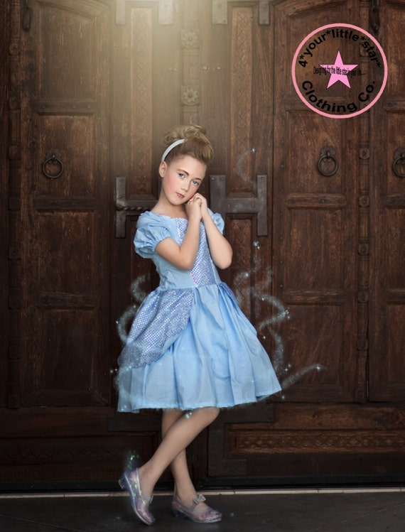 Inspired Princess Cinderella Character Dress for Infants, Toddlers, Girls Sizes 12 mos to Size 10 Birthday Dress Eyelet