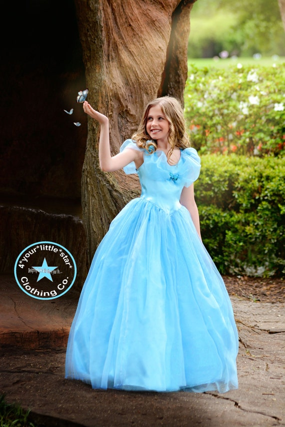 Gorgeous Inspired Cinderella Long Dress gown for Infants, Toddlers, Girls Sizes 12 mos to Tweens 15/16 - Pageant, OTT, Halloween