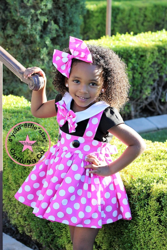Inspired Minnie Pink & White polka dot Outfit Peter Pan Collar blouse with Suspender skirt toddlers, girls  6/12 m to 10/12