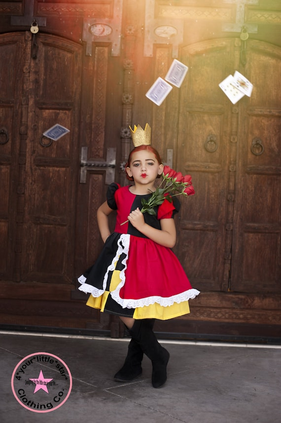 Inspired Queen of Hearts Character Dress for Infants, Toddlers, Girls Sizes 12 mos to Size 8